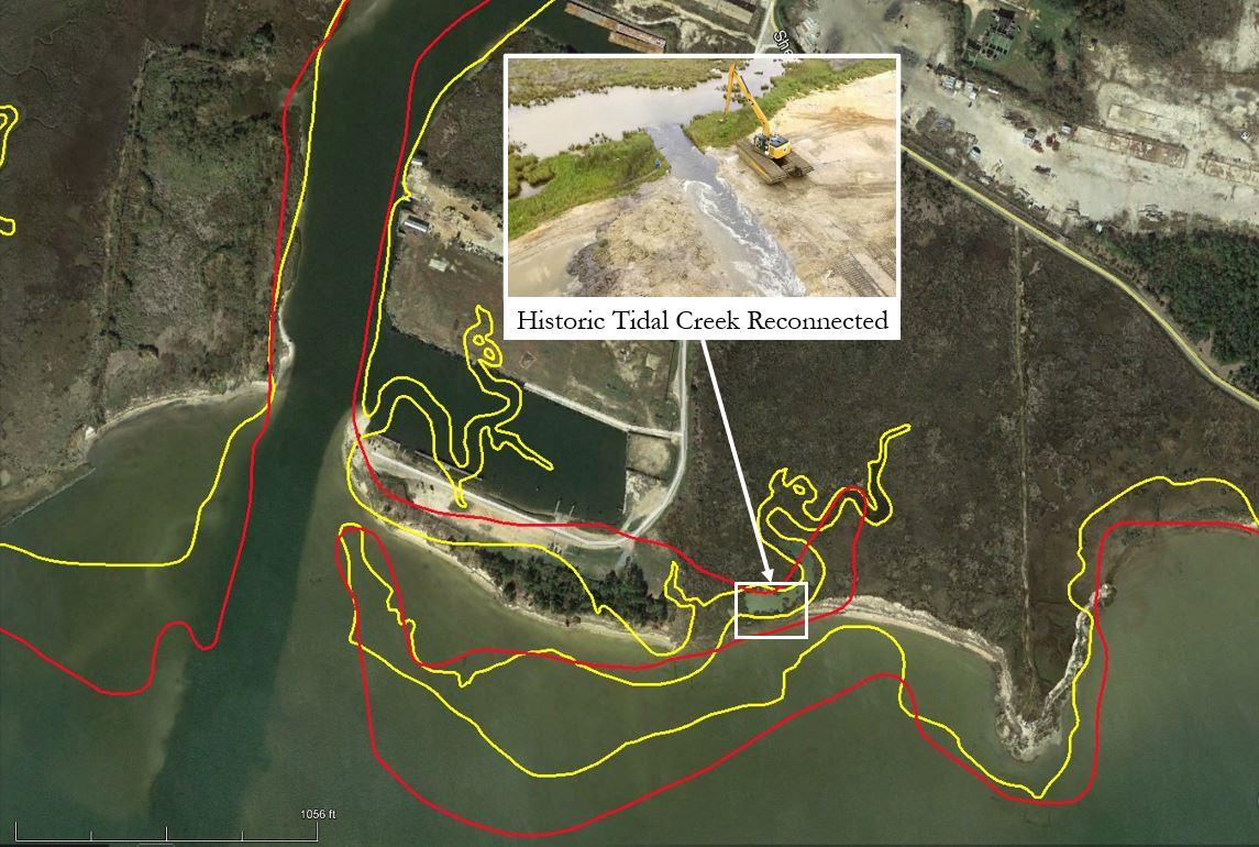 Historic shoreline of Bayou la Batre